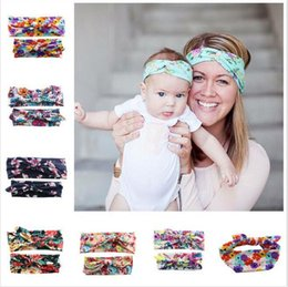 Wholesale Wholesale Floral Fabric - Headbands Hair Jewelry Bohemia Style Chiffon Headband Women Yoga Wash Face Sport Hair Bands Stretch Wide Head Wrap Floral Hair Accessories