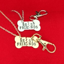 Wholesale Statement Necklace Parts - 2017 Gold Silver BEST FRIENDS Pendant Necklace pet dog bones jewelry BFF Necklace 2 part dog bones necklace and keychain HOT maxi statement