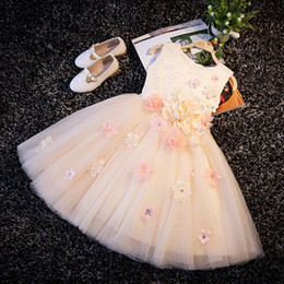 Wholesale Knee Length Sequin Bridesmaid Dresses - With Sequin Appliques Flower Girl Champagne Christening Wedding Party Pageant Dress Baby ball Gowns Child Bridesmaid Clothing