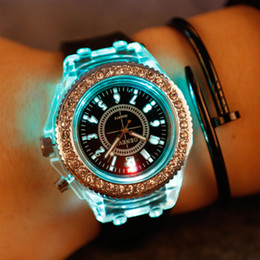 Wholesale Digital Silicone Watch Stone - LED Light Glow Geneva Watches diamond crystal stone Led Light watch unisex silicone jelly candy flash up Wristwatches Sports Watches