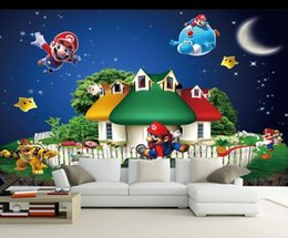 Wholesale Live Mario - Wholesale Super Mario Mural 3d Cartoon Mural 3d Wall Mural Wallpaper for Kids Children Baby Room 3D Murals Fresco Wall sticker