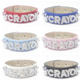 Wholesale K Bar Wholesale - Wholesale- K-POP Crayon Wristband Bracelets Rhinestone Metal Slide Letter Charm DIY bangles free shipping