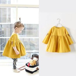 Wholesale Girl Fluffy Sleeve - Girls Long Sleeves Dresses Fluffy Tutu Dress Children's Clothes for Autumn and Spring Free Shipping Kids 035