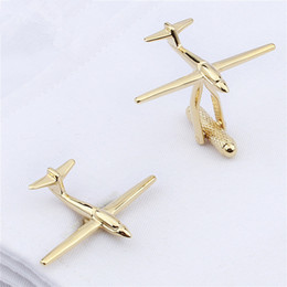 Wholesale Tie Clip Button - Simple Design Gold Plated Plain Metal Airplane Shaped Trendy Style Men Jewelry Cufflinks Wedding Business Dress Shirt Button