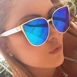Wholesale Lady Cat Glasses - Fashion Oversize Big Frame Cat Eye Sunglasses for Women Mirror Sun Glasses UV400 Outdoor Lady Eyewear Brand Designer Feminino Oculos De Sol
