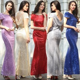 Wholesale Evening Dresses Upscale - 2017 New Women Dresses Ladies Golden Elegant Evening Dresses Upscale Sequins Wedding Bridesmaid Long Skirt