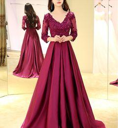 Wholesale Real Sample Celebrity Dress - Purple a-line half sleeve Evening dresses 2017 Formal evening Dresses Party Pageant Gowns Celebrity Prom dress real sample plus size