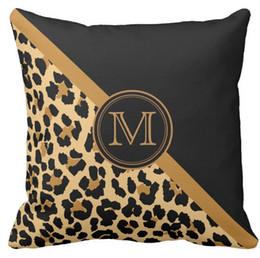 Canada Housse de coussin, élégant léopard imprimé Monogram Squar Housse de coussins de canapé,