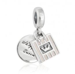 Argentina Nuevo Cuelgan compras Queen Charms Colgantes 925 Esmalte de plata esterlina corona bolsa de perlas para DIY encanto pulseras joyería que hace accesorios cheap queens crown pendant Suministro
