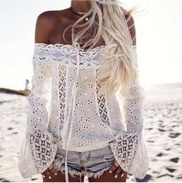 Wholesale Summer Women Jumpers - White Summer Casual Ladies Blouse Flare Long Sleeve Pullover Lace Loose Slash Neck Off the Shoulder Tops Womens T-Shirt Shirt Tee Jumper