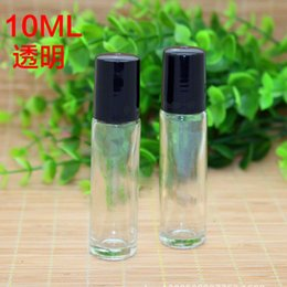 Wholesale E Roller - wholesale 1000pcs 10ml (1 3oz) Clear roll-on Glass bottles 10ml Black Cap SS Glass roller For E Liquid Aromatherapy Care