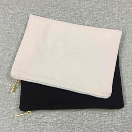 Wholesale Diy Clutch - 7x10 inches blank natural cotton canvas clutch bag plain canvas makeup bag cosmetic case for DIY screen printing