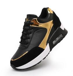 Wholesale wedge shoes for women - Gold Silver Free Shipping Hidden Wedge Heels Fashion Women's Elevator Shoes Casual Shoes For Women wedge heel Trainers 2017