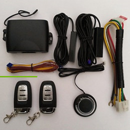 Wholesale Entry Alarms - PKE Car Alarm System Keyless Auto Entry Car Engine Function With 2 Remote Control Remote central locking Push Start Stop Button