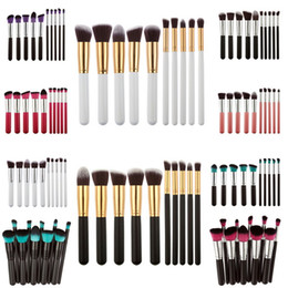 Wholesale Wholesale Nylon Brush - 10Pcs=1Set Professional Makeup Brushes Set Make Up Powder Brushes Maquillage Beauty Cosmetic Tools Kit Eyeshadow Lip Brushes #BSEL