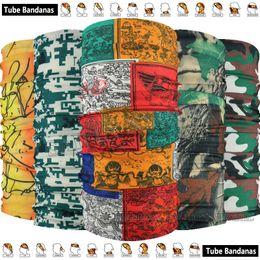 Wholesale knitted beachwear - 1pc lot Fashion Cycling Sports Skull Flames Multi Purpose Tubular Bandana Multi function Headbands Seamless Wear
