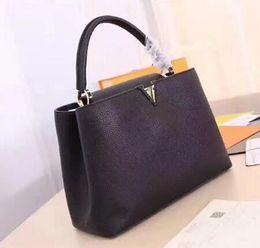 Wholesale Classic Lady Black Bag - Women genuine leather bags handbags women famous brands designer bag vintage ladies clutch purses and handbags classic totes bag bolsa
