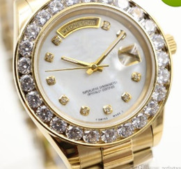 Wholesale Mens Watches Automatic Perpetual - 2017 President Day Date 18K Gold Perpetual fashion mens watch Big diamond Bezel Gold Stainless steel original strap Automatic men Watches