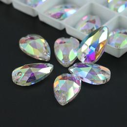 Wholesale Wholesale Crystal Flatback - Crystal AB Teardrops Sew On Rhinestone All Size Glass Flatback Fancy Sew-on Stone R3230 50pcs per bag