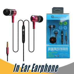 Wholesale i phone ear - Langsdom I-1 Metal Stereo Bass Earphone with Mic For iPhone Samsung Mobile Phone with Retail Package