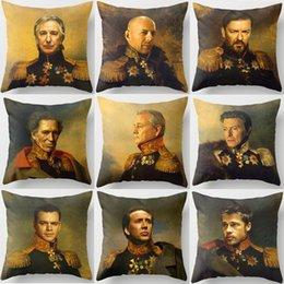 Wholesale Red Oil Light - Oil Paintings Celebrities Face Portrait Cushion Cover Bill Murray Brad Pitt Will Smith Hugh Jackman Cushion Covers Linen Cotton Pillow Case