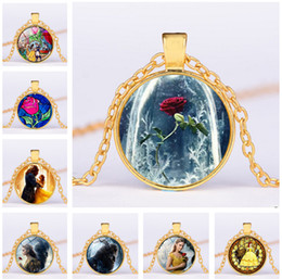 Wholesale Black Circle Picture - Glass Picture Pendant Beauty and the Beast Necklace Rose Glass Pendant Art Pendant For women gift Free shipping DHL LC492
