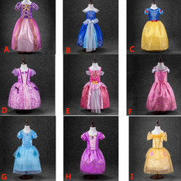Wholesale Snow Ball Wedding - Girls Cinderella Snow White Bell Aurora Pricess Dresses New Summer Children Cosplay Party Wedding Gown Ball Gauze Lace Dresses PX-A07