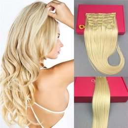Wholesale Blonde Hair Clip Piece - Clip in Remy Human Hair Extensions Full Head 8 Pieces Set 20inch 130g Long Straight Very Soft Style Real Silky for Fashion Women #613 Blonde
