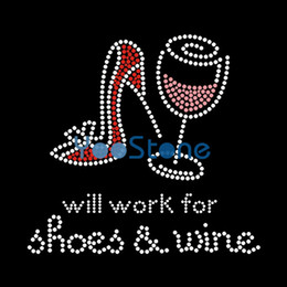 Wholesale Element Shoes Wholesale - Fashion Will Work For Shoes & Wine Iron On Rhinestone Transfer Hotfix Motif Applique Strass