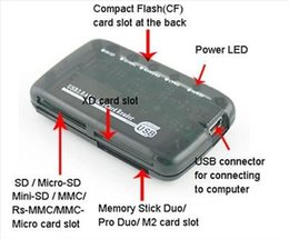 Wholesale Xd Card Usb Adapter - 100set lot 6 port all in 1 USB 2.0 Mini Transparent Multifunction CF TF SD XD MS SDHC Multi-card Memory Card Reader Adapter