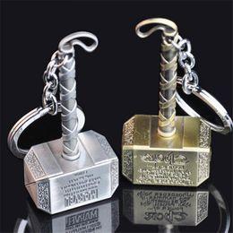 Wholesale Thor Key Ring - Movie Key Ring Fashion Key Chains Accessory Metal Thor Hammer Type Metal KeyChain for Avengers Mjolnir Figure DHL Free
