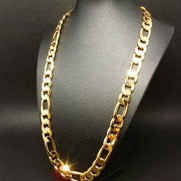 Wholesale Curb 12mm - new! heavy 94g 12mm 24k yellow gold filled men's necklace curb chain jewelry