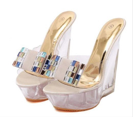Wholesale Pink Rhinestone Sandals - 2017 New summer high Heels Shoes Woman Sandals Slippers Rhinestones Nightclubs Sexy Shoes Fashion Sandals Wedges Platform Women Shoes