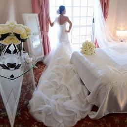 Wholesale Dress Wedding Aplique - 2017 Aplique Sweetheart Mermaid cathedral train Wedding Dress boho Sheath Zipper White Exquisite 2y Organza empire waist Bridal Gowns dress