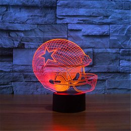 Wholesale Helmet Party - 2017 New Design 3D Dallas Cowboys Rugby Helmet Night Light LED Colorful Remote Touch LED Bedside Lamp Gift
