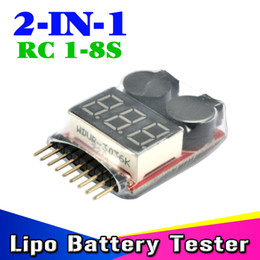 Wholesale Lipo Battery Tester Meter - Wholesale- 2Pcs Lipo Battery low voltage Alarm 2 in1 RC Lipo Battery Buzzer Speaker 1S-8S LED Low Voltage Meter Tester indicator