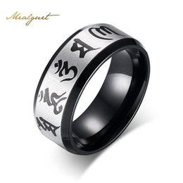 Wholesale Mani Padme - Meaeguet Traditional Om Mani Padme Hum Men Ring Black Color Wedding Rings For Men Jewelry Stainless Steel Ring