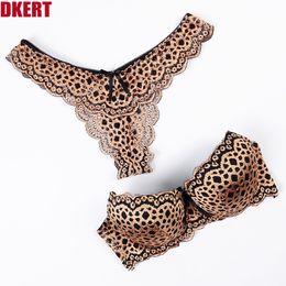 0b701188a03 DKERT G String Sexy Leopard Women Bra Set Hollow Out Push Up ABC Lace Thong Underwear  Panty Fashion Luxury Bra Brief Set K1393
