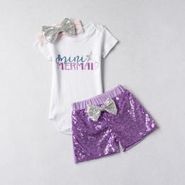 Wholesale Children S Clothes Tutus - Cute Infant Girls Outfits Sets Summer Children Clothing Suits Sequins Headband + Pants Shorts + Letter Rompers 3pcs Set Girl Set A8086