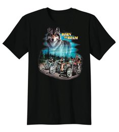 Wholesale Custom Motorcycle Coolers - Born To Roam Wolf Animal Spirit Motorcycle Chopper Biker Custom DIY Cool T-Shirt Screen Tee Fitness