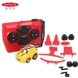 Wholesale Small Cars Kids - Wholesale- meibeile Kids Juguetes Small RC Stunt Car Carros Mini Cartoon Remote Control Car for Boys Children with 14 Wheels Road Obstacles
