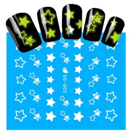 Wholesale Nail Art Stars - Wholesale- 1Sheets NEW Luminous Nail Stickers Star Pattern Glitter Nail Art Decals Manicure Tips Decoration DIY Fashion Accessories DG005
