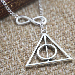 Wholesale silver deathly hallows pendant - 12pcs lot HP Deathly Hallows Charm Necklace Infinity Always Jewelry Necklace Fantasy Wizard HP Fandom
