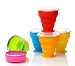 Wholesale Retractable Folding Cup - Candy Color New Vogue Portable Outdoor Travel Cup 200ml Silicone Retractable Folding Cup Telescopic Collapsible B002