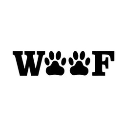 Wholesale window sticker dog - 14.5CM*3.7CM WOOF Dog Paw Cute Text Car Sticker Fashion Vinyl Sticker