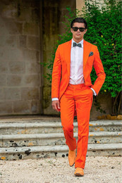 Wholesale Sunshine Dress - 2017 Sunshine Energetic Orange Tailcoat Peaked Lapel Groom Tuxedos Slim Fit Men's Wedding Dress Holiday Prom Clothing(Jacket+pants+tie+Gird