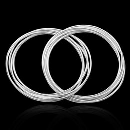 Wholesale Sterling Silver Ladies Bangles - Hot Items Ladies 10 Circle Cuff Bangle 8.0inch Top Quality 925 silver Bangle Bracelet Shining Jewelry 10PCS lot B084
