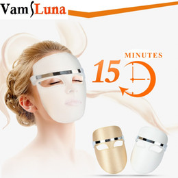 Wholesale Electric Boost - Electric LED Facial Mask Light Therapy 3 Color Photon Skin PDT Boosts Blood Circulation Relieves Stress On Skin Beauty Care