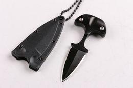 Cuchillo de cuello de acero en frío online-Mini Cuchillo de cuello de acero frío táctico Cuchilla fija Cuchillo de daga para acampar al aire libre Supervivencia Autodefensa Llavero portátil faca EDC-7.3cm Total
