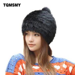Wholesale fashionable winter hats men - Wholesale- High quality Fashionable winter hats for women Rabbit Fur beanie Knitting wool Real Fur Casual cute girls cap free shopping